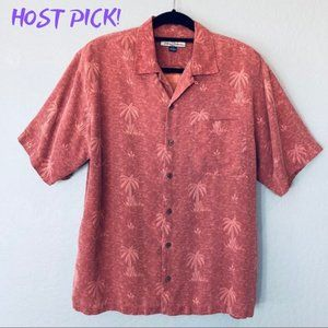 TOMMY BAHAMA Men's Silk Camp Shirt Salmon Red M